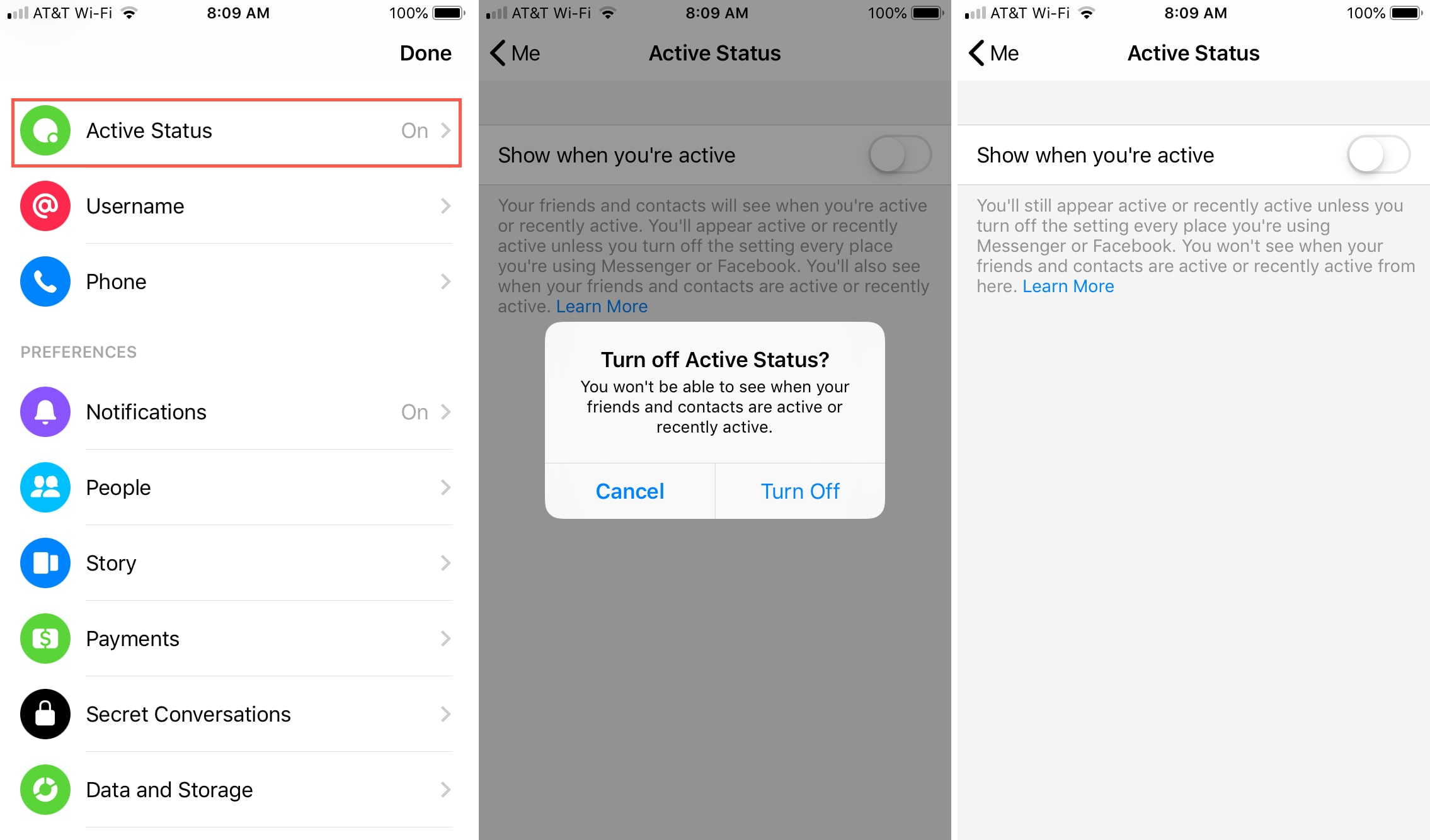 Disable Active Status Messenger App