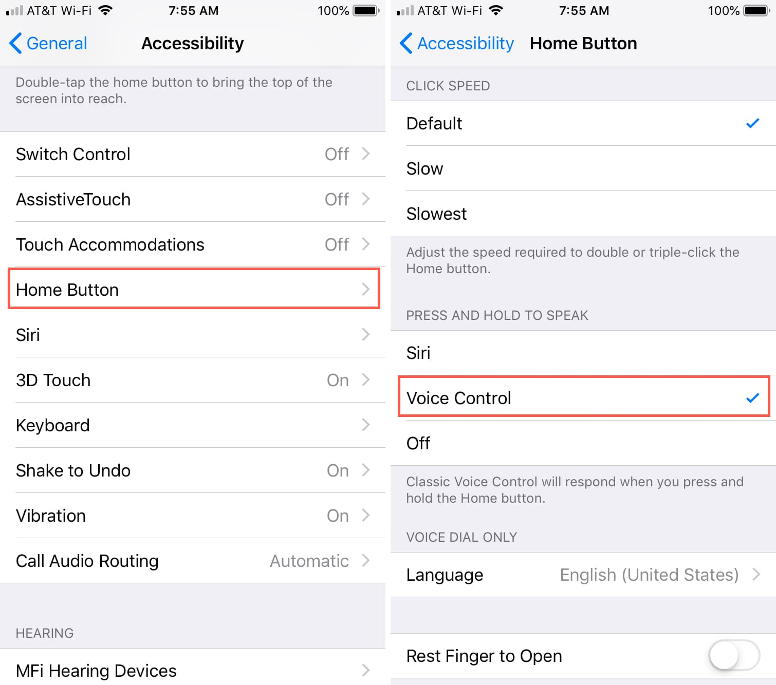 Enable Voice Control iPhone