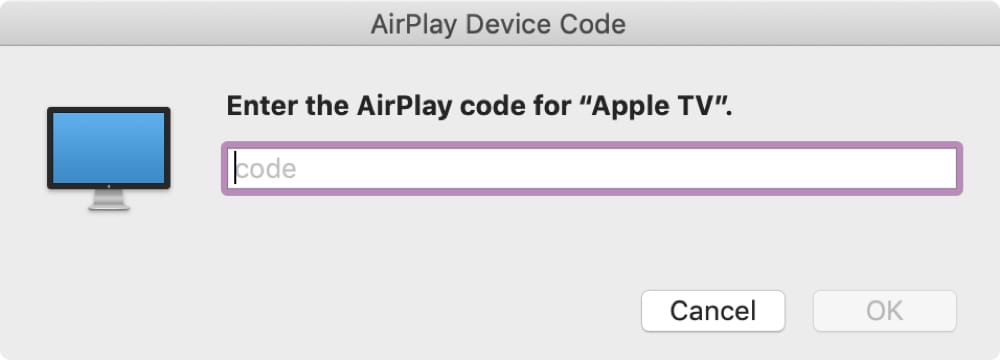 Enter AirPlay Code for Apple TV