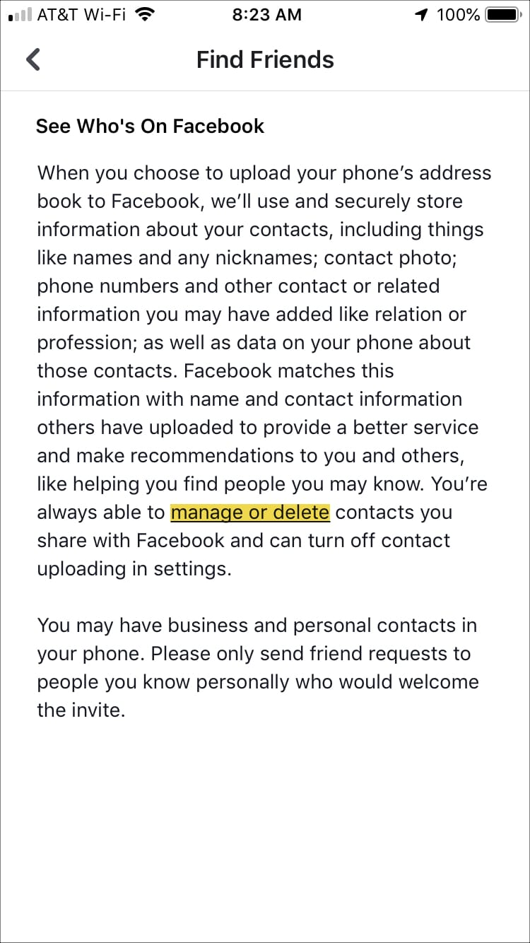 Facebook Find Friends Screen iPhone