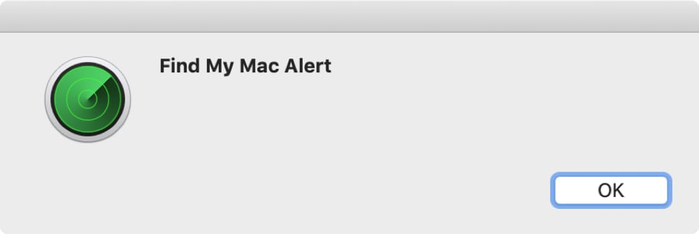 Find My Mac Alert