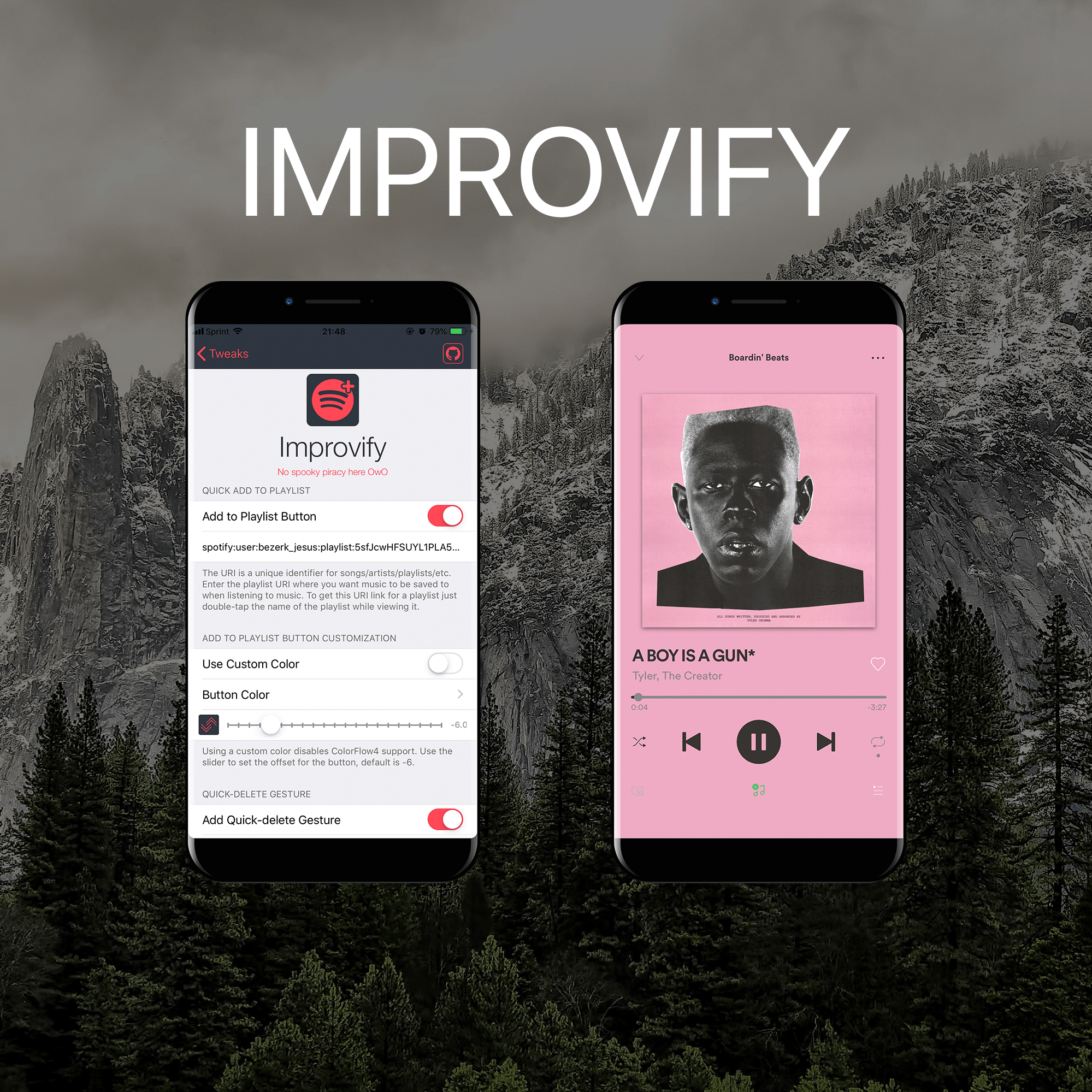 Augment the Spotify Music app with Improvify