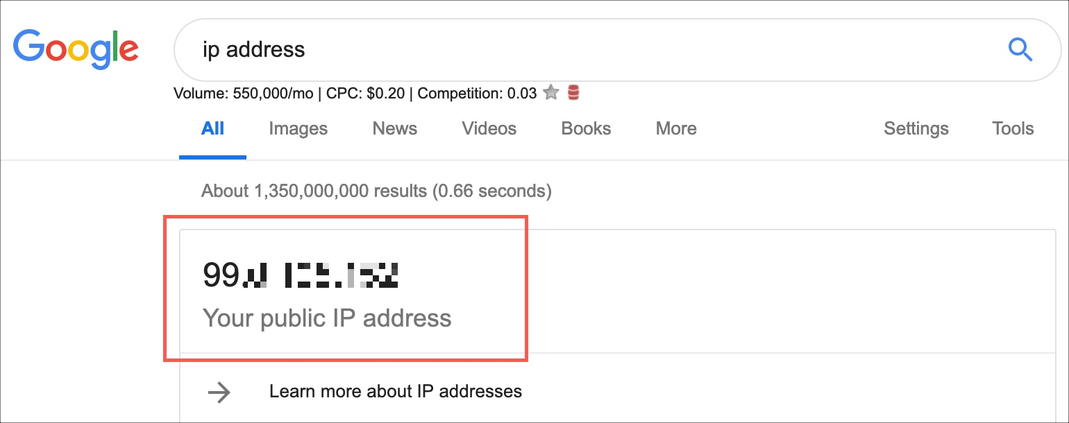 Mac external IP Address on Google