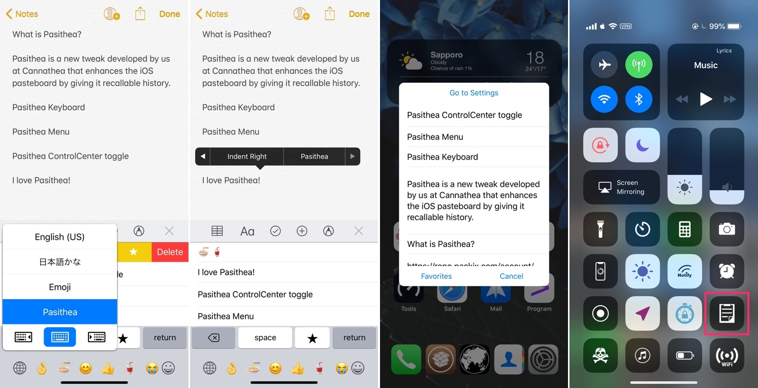 Pasithea 2 clipboard manager for jailbroken devices gets iOS 11 and