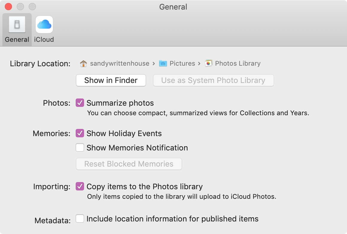 Photos Preferences General
