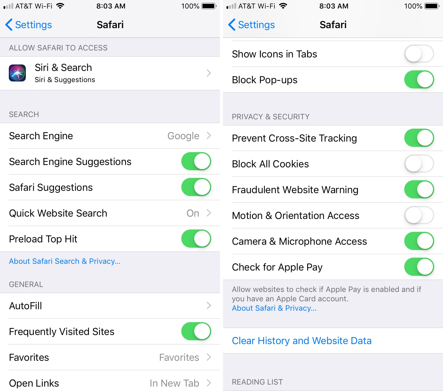 Configuración de privacidad Safari
