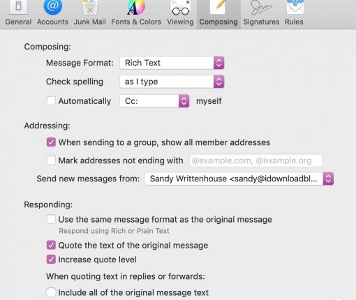 Set Default Email Account on Mac