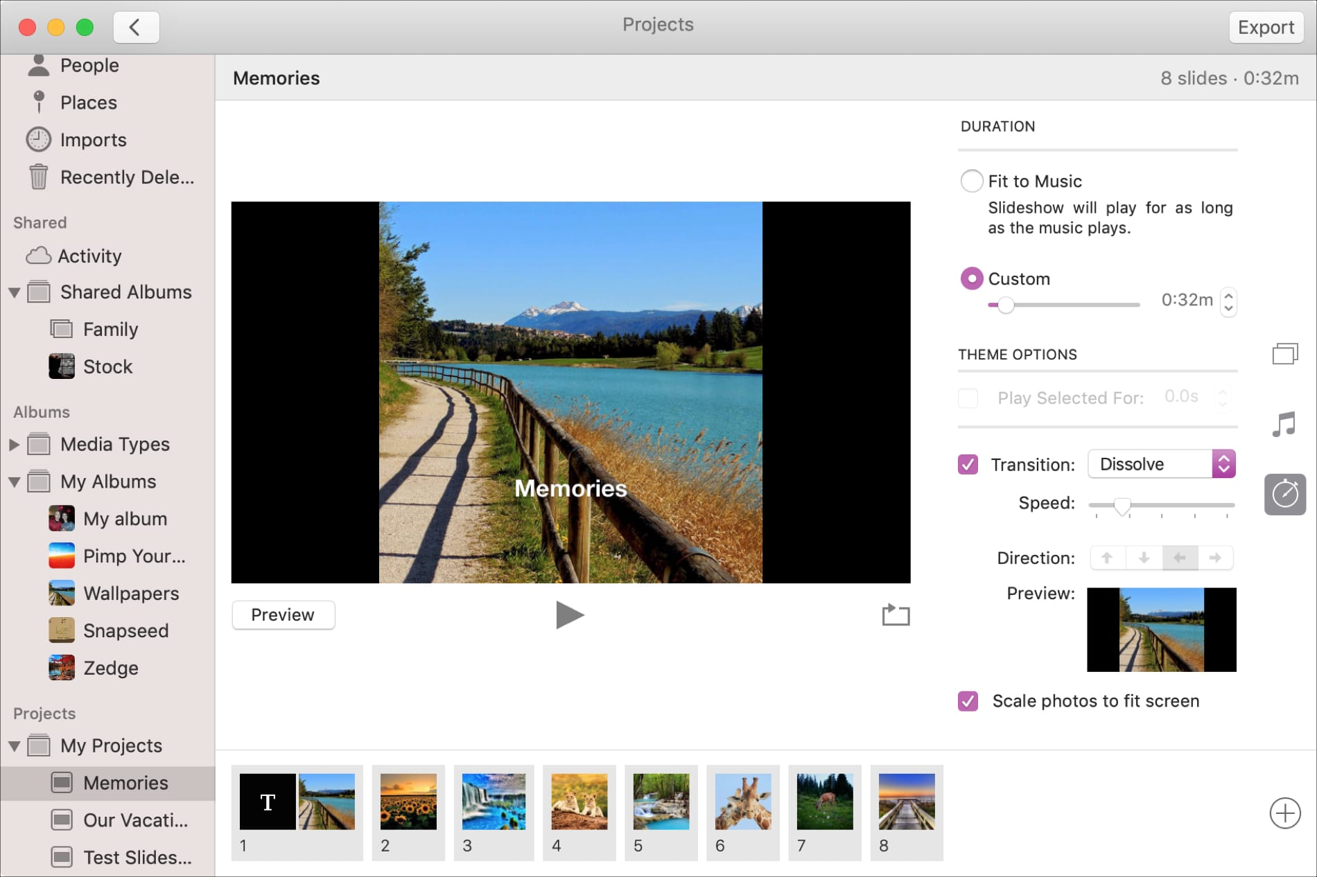 Slideshow Duration in Photos on Mac