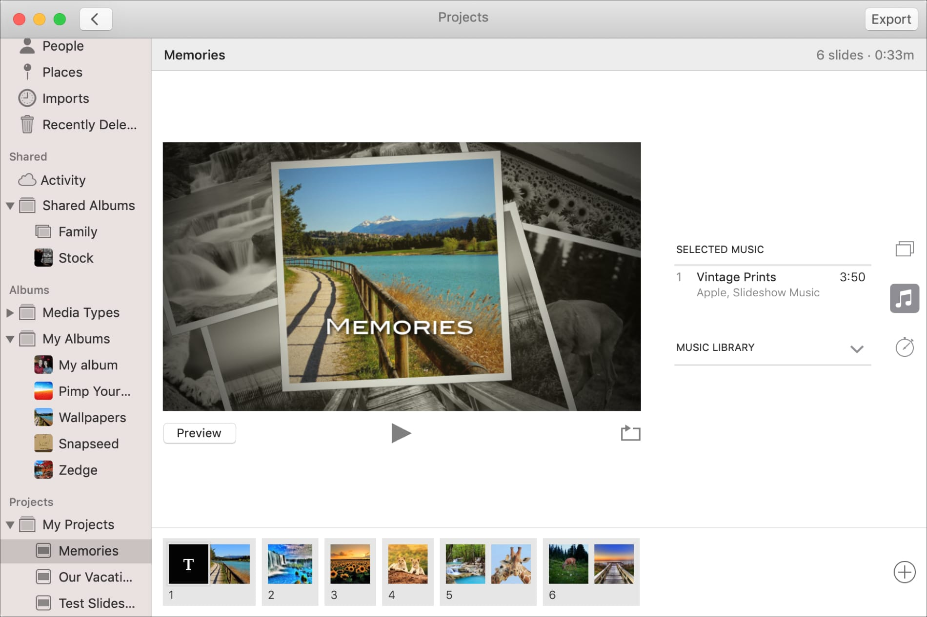 Slideshow Music in Photos on Mac