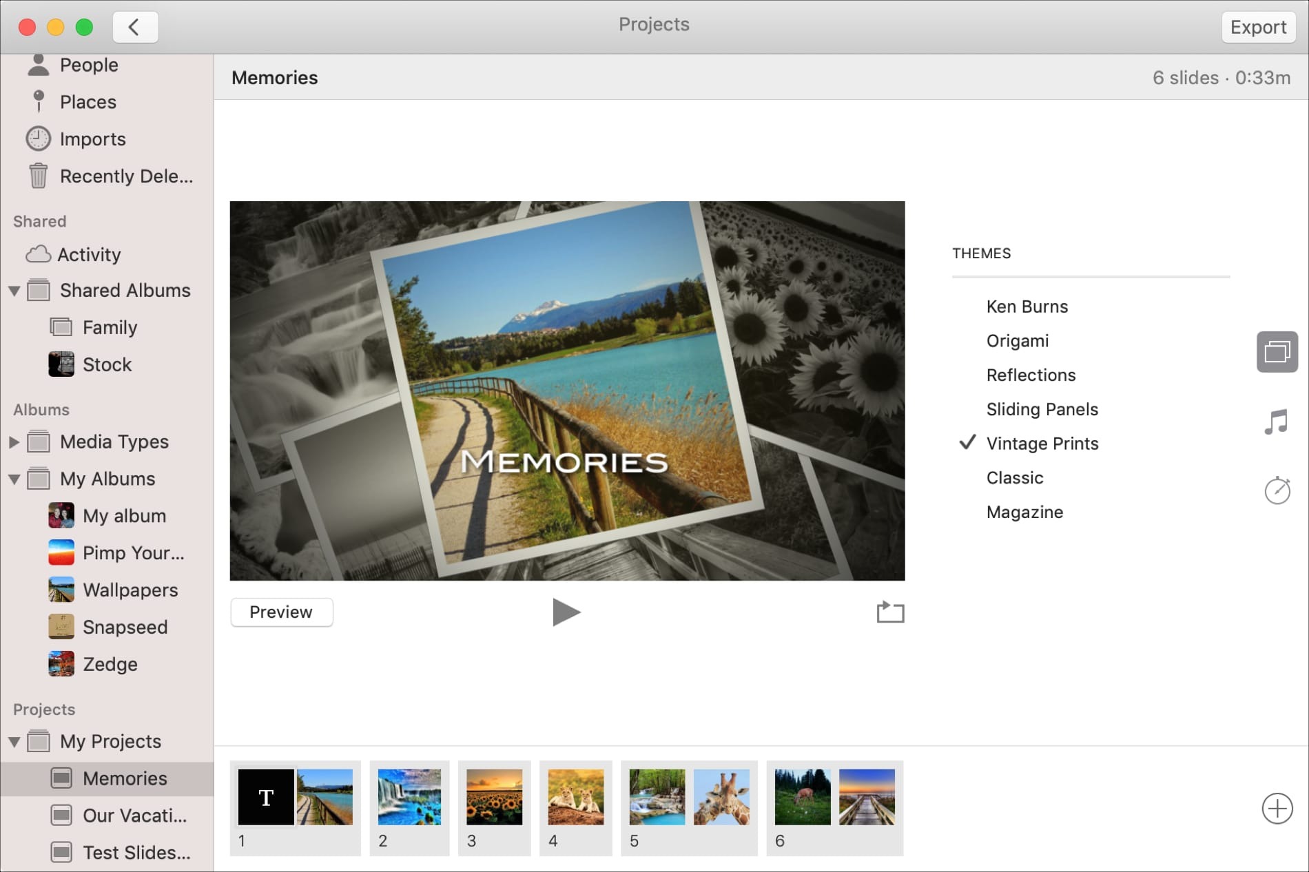 Slideshow Theme in Photos on Mac