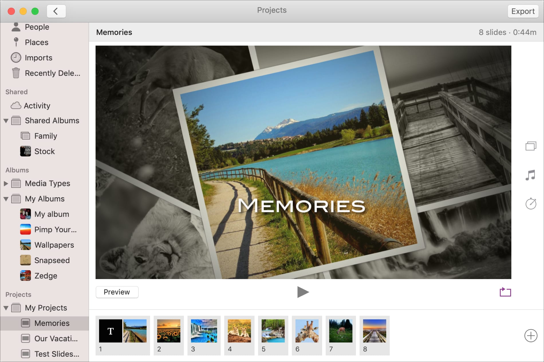 Slideshow in Photos on Mac