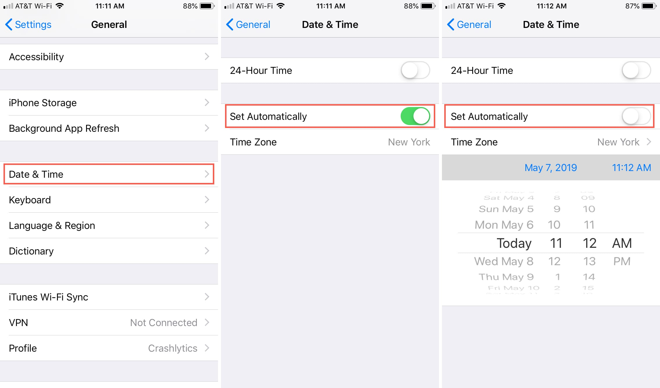 Turn Off Time Set Automatically iPhone