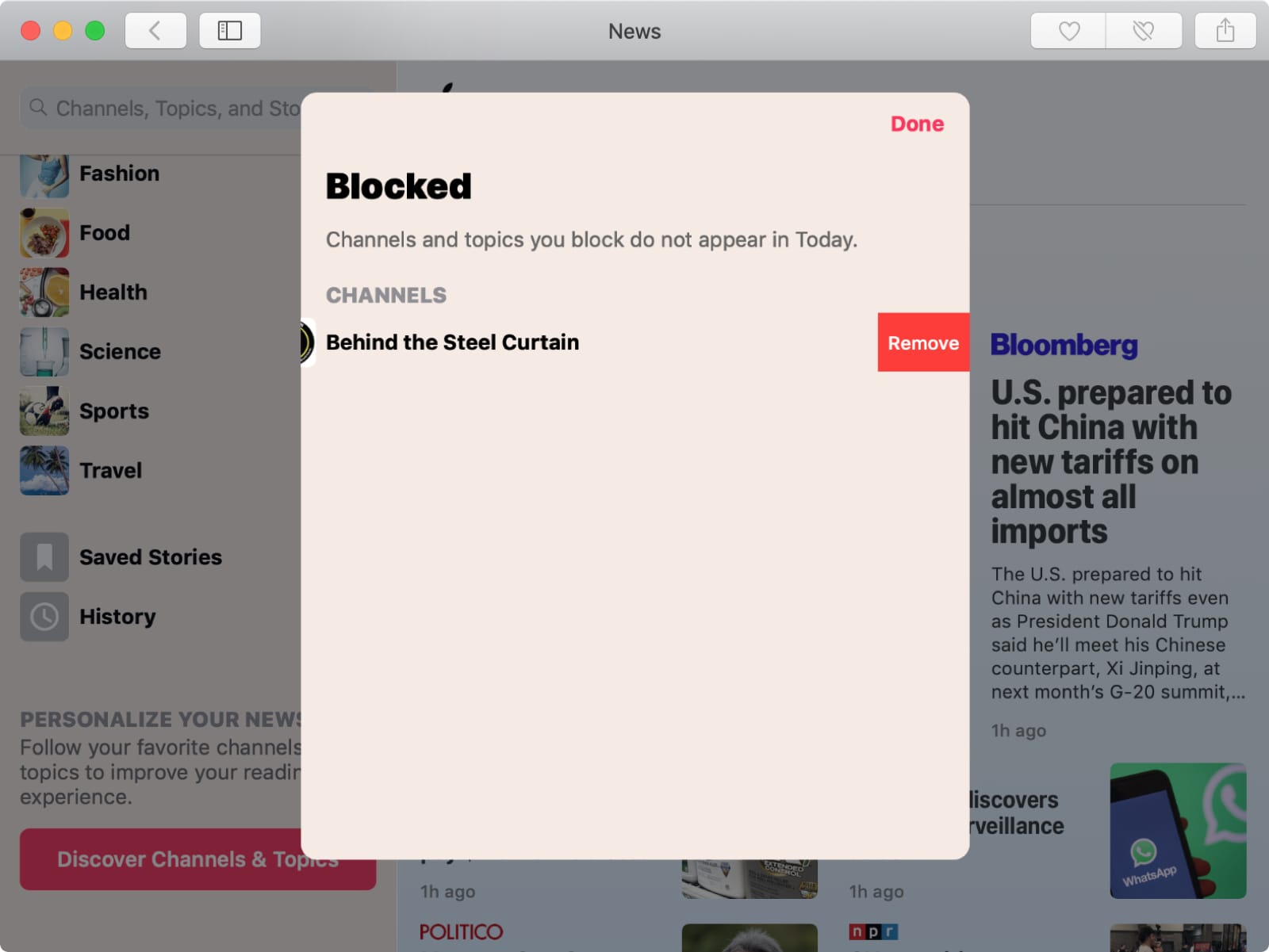 Unblock Channel in Apple News on Mac