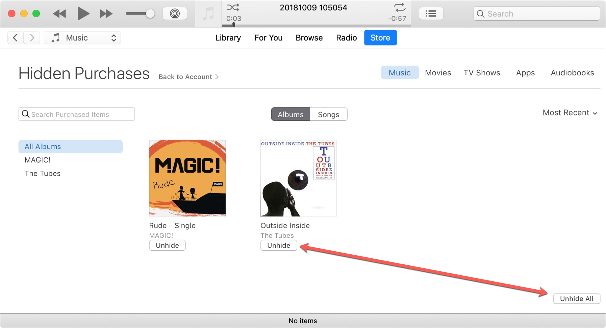 Unhide iTunes Purchases on Mac