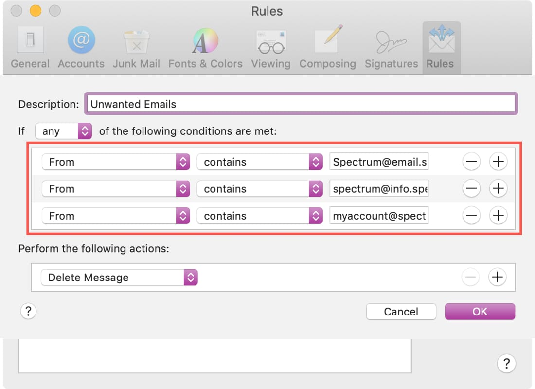 Unwanted Email Rule Plus in Mac Mail