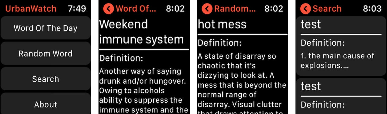 UrbanWatch is a slang dictionary on your wrist