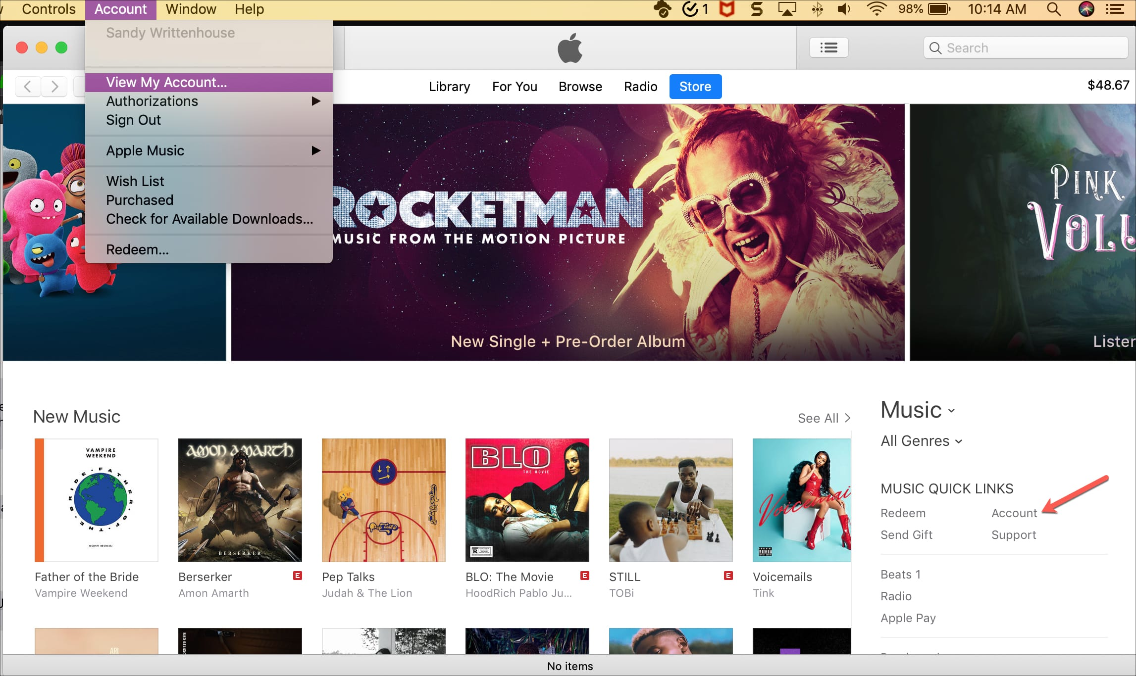 View Account in to request refund iTunes on Mac