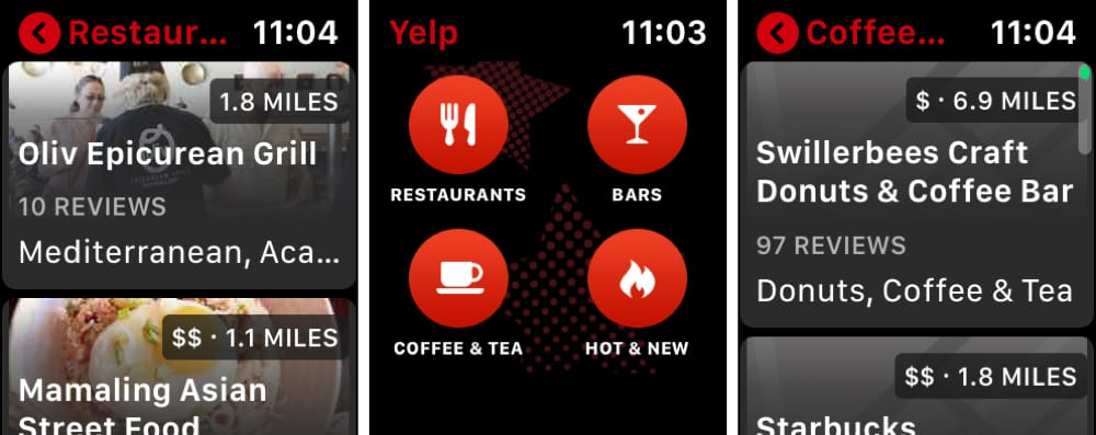 Yelp on Apple Watch