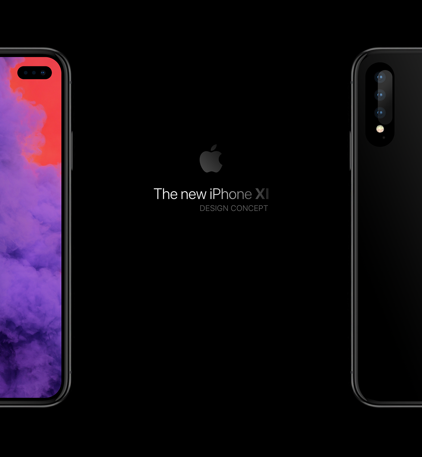 Concept a notch,less iPhone with a hole punch display and a