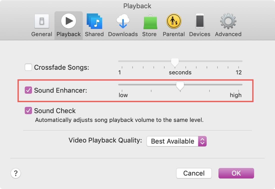 iTunes Sound Enhancer on Mac