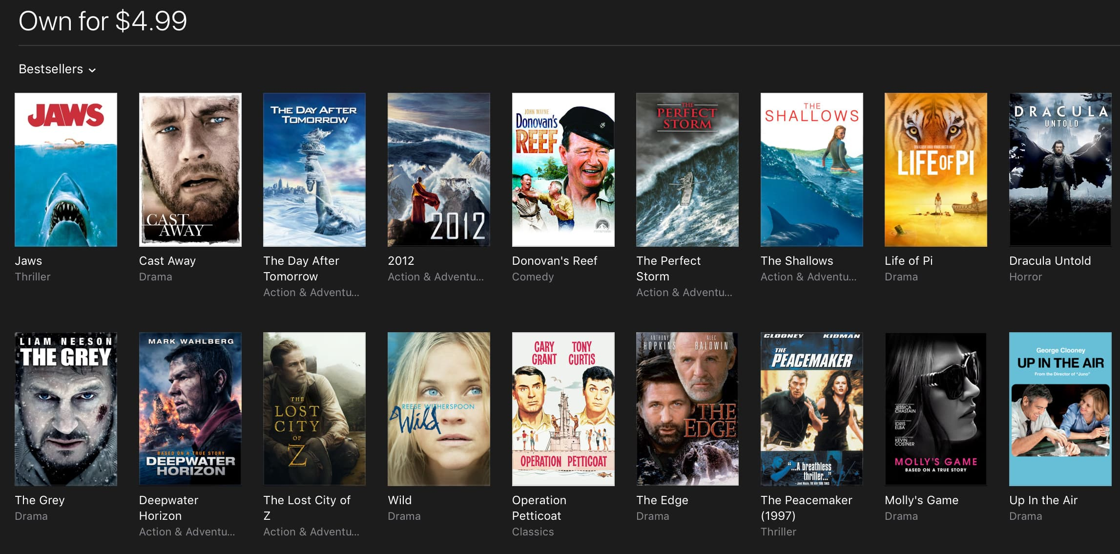 iTunes movie deals: Deepwater Horizon $5, Interstellar and The Martian $10, and more