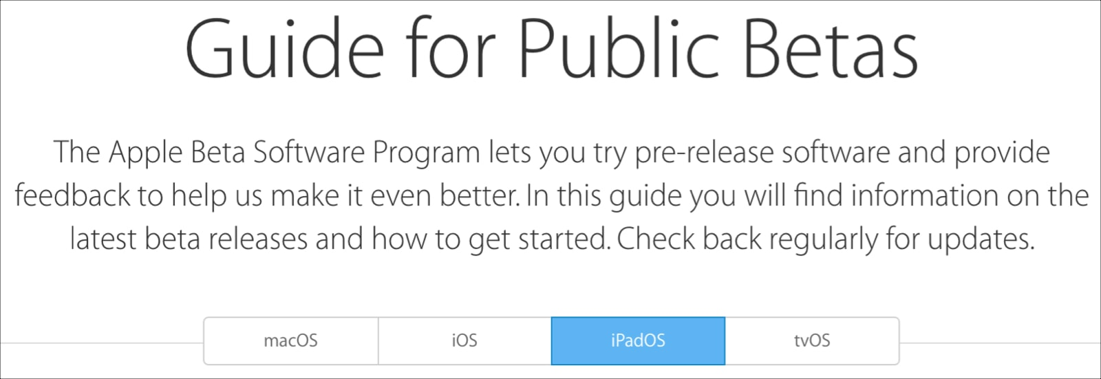 Apple Guide for Public Betas