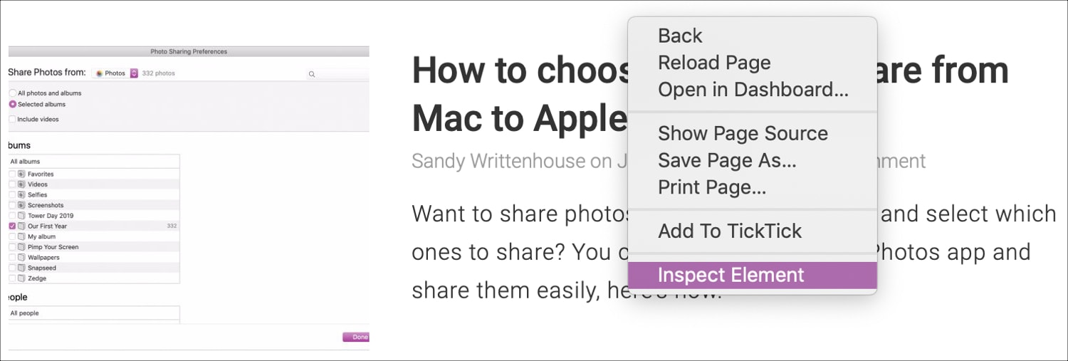 Inspect Element Shortcut in Safari on Mac