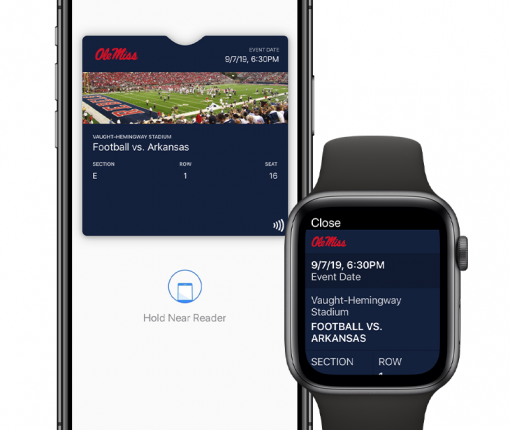 Contactless tickets for college sports in Apple Wallet