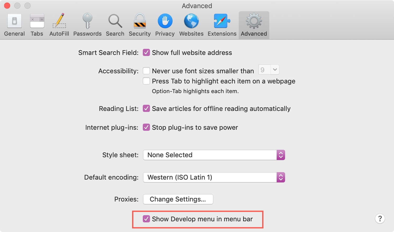 Show Develop Menu in Safari on Mac