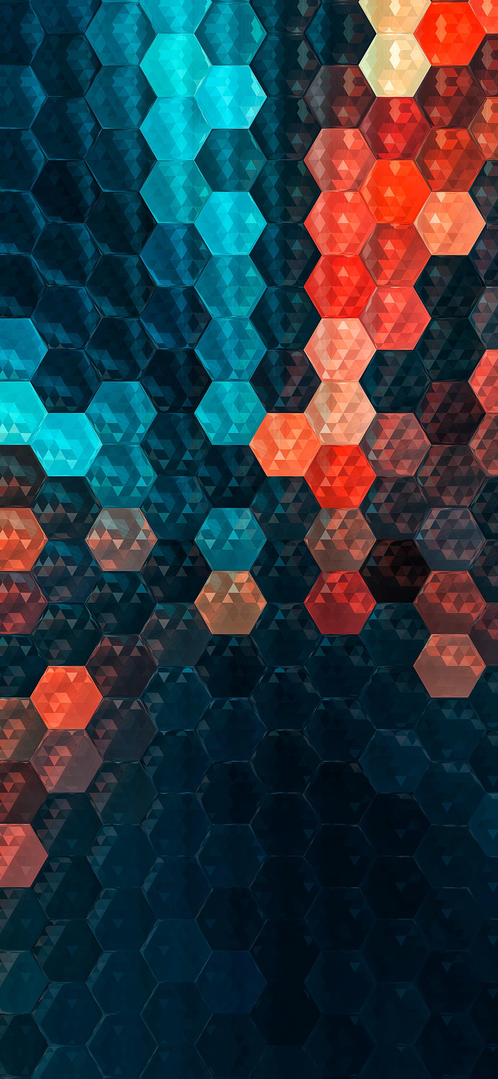 hexagon multi color wallpaper IPHONE X, XR, XS, XS MAX, 1PLUS 6T - V125 - JFL