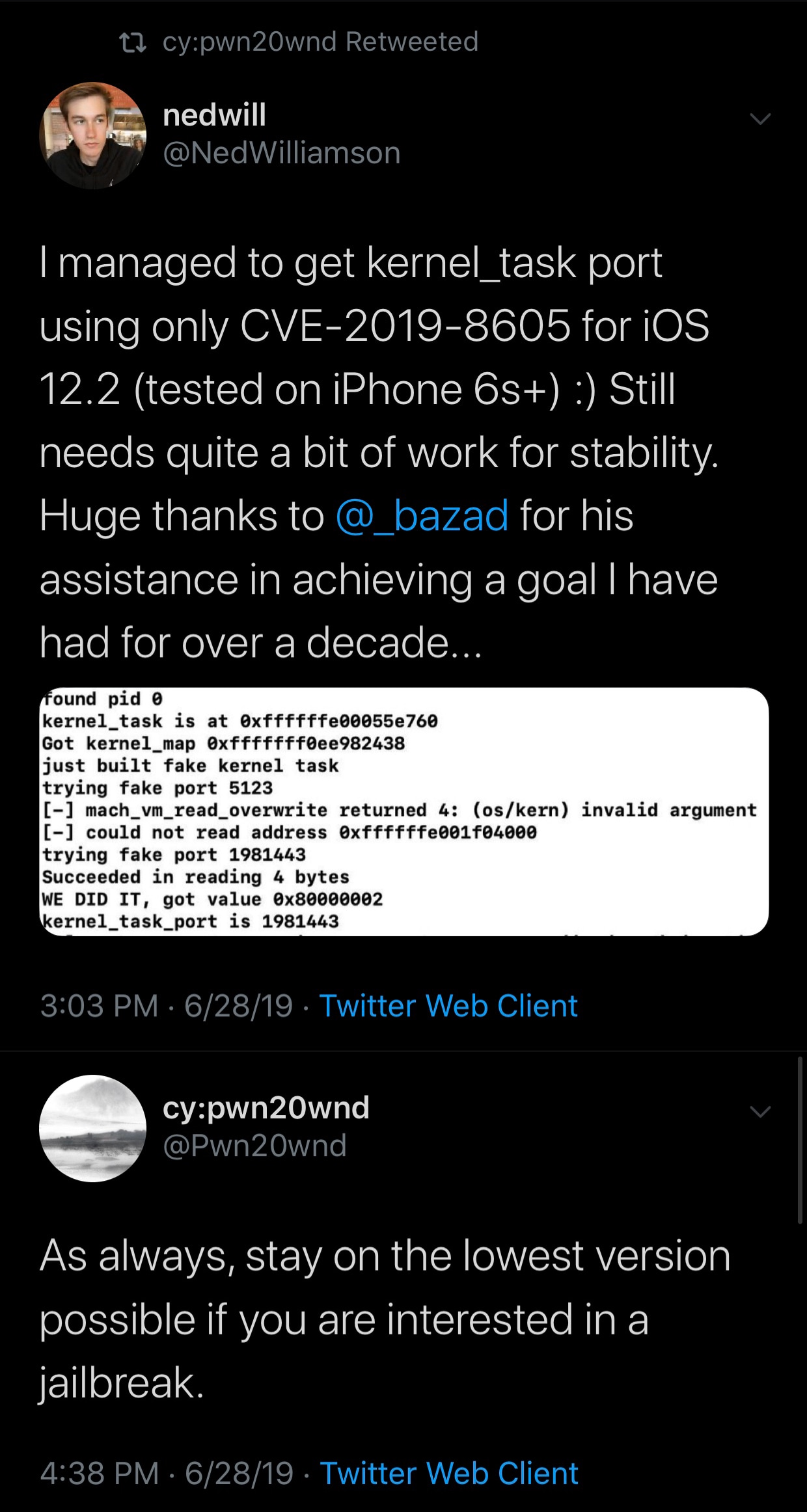 A tfp0 exploit has been achieved on iOS 12 2