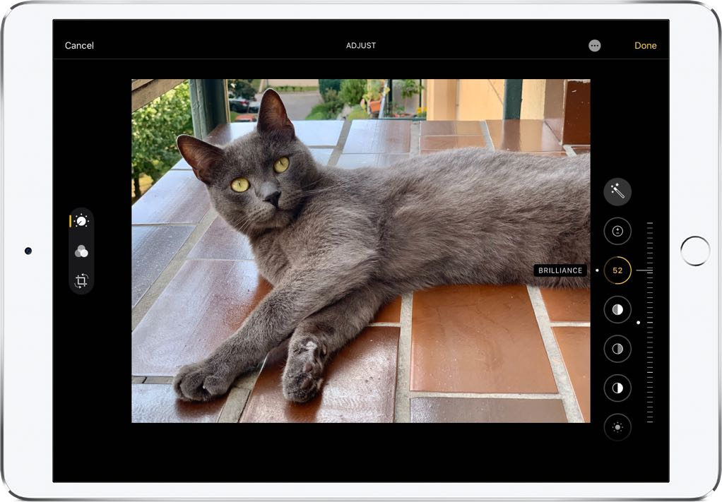 Adjusting effects with sliders in the Photos app on iOS 13