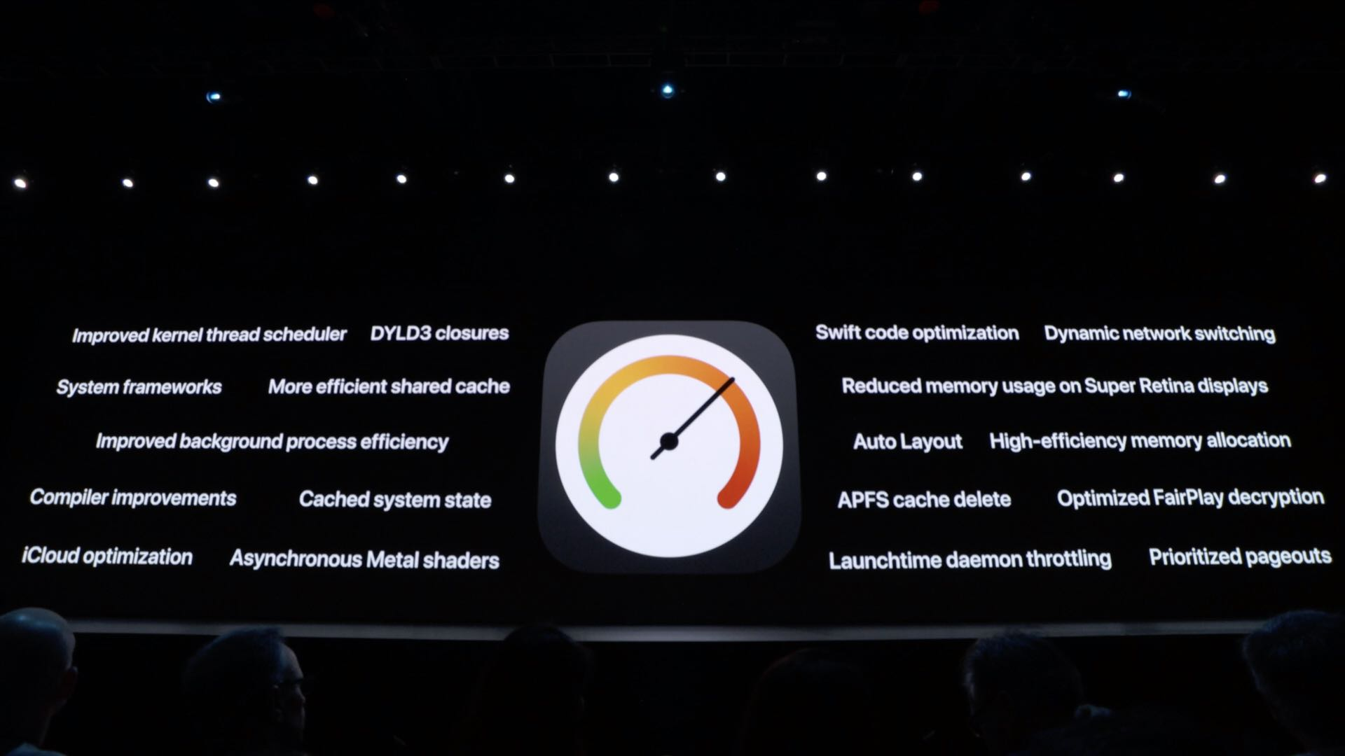 WWDC 2019 slide: a list of under-the-hood tweaks making iOS 13 faster and more battery-friendly