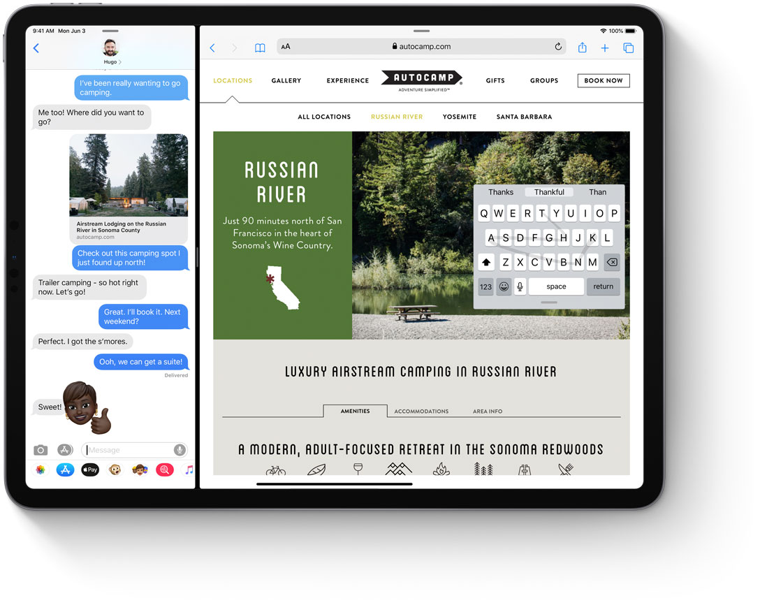 The iPadOS keyboard can float around the screen