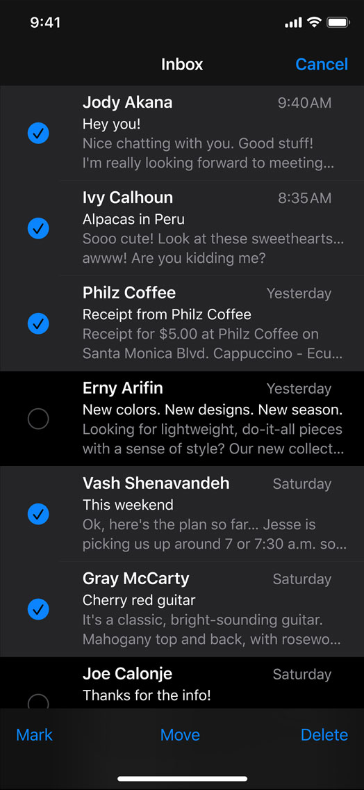 Mail in iOS 13 adds multicolored flags, new format bar
