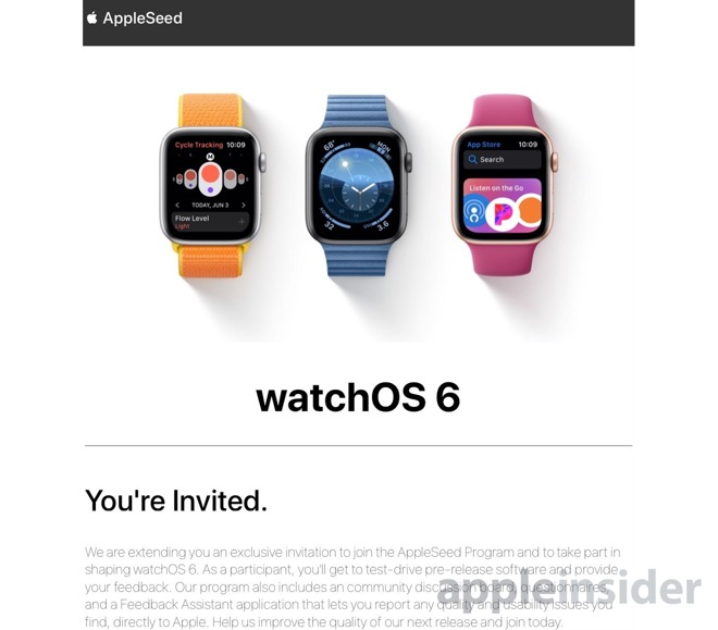 Apple sends out AppleSeed invites for watchOS 6 beta