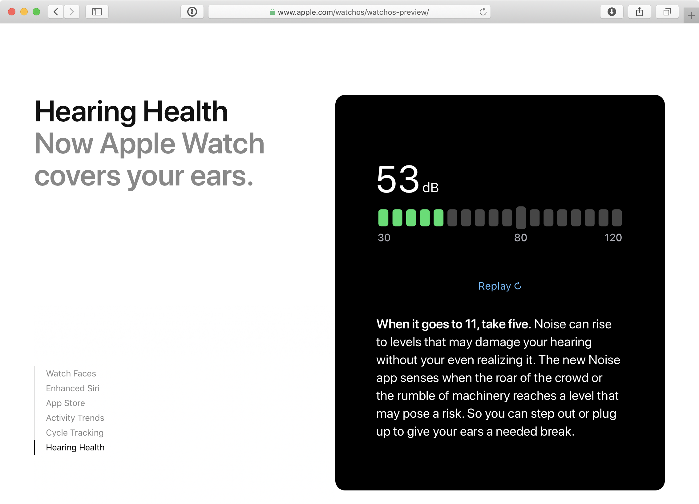 Hearing health innovations in watchOS 6 include a new Noise app