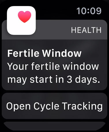 watchOS 6 and Cycle Tracking can track the fertile window