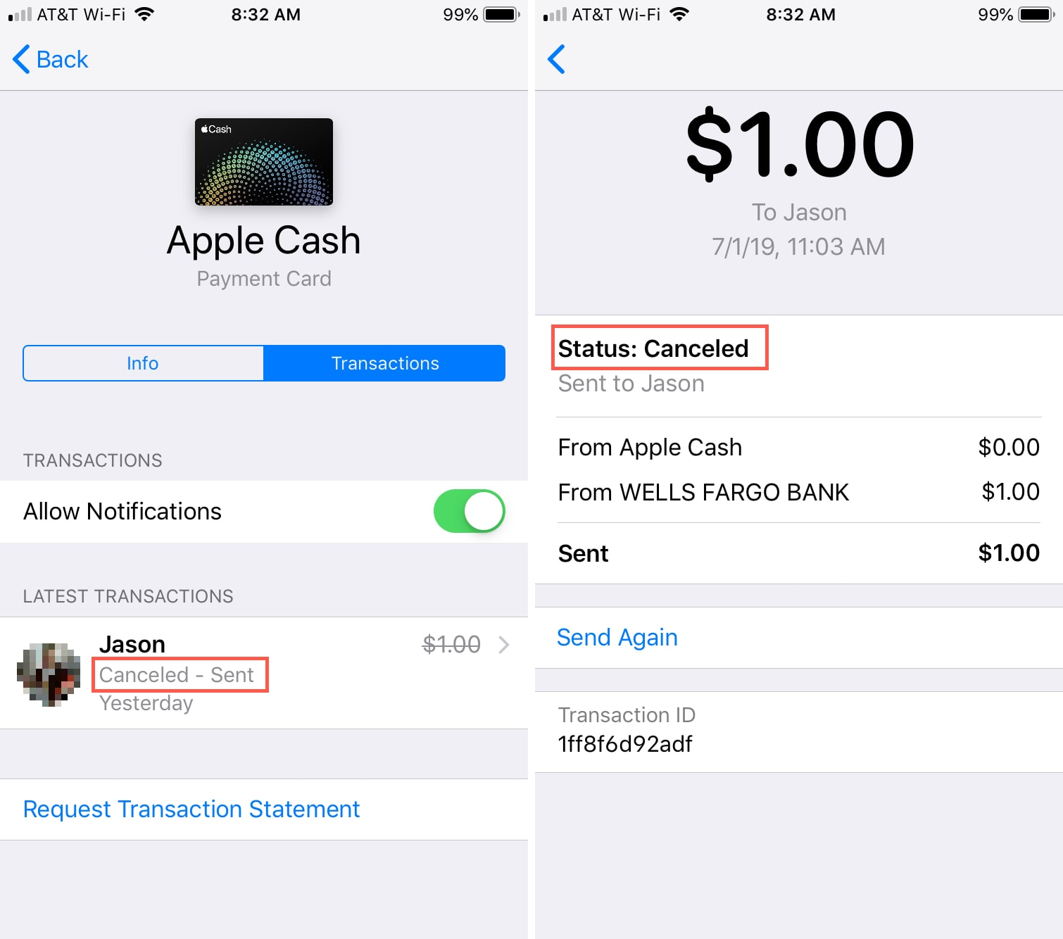 Apple Cash Payment Canceled iPhone