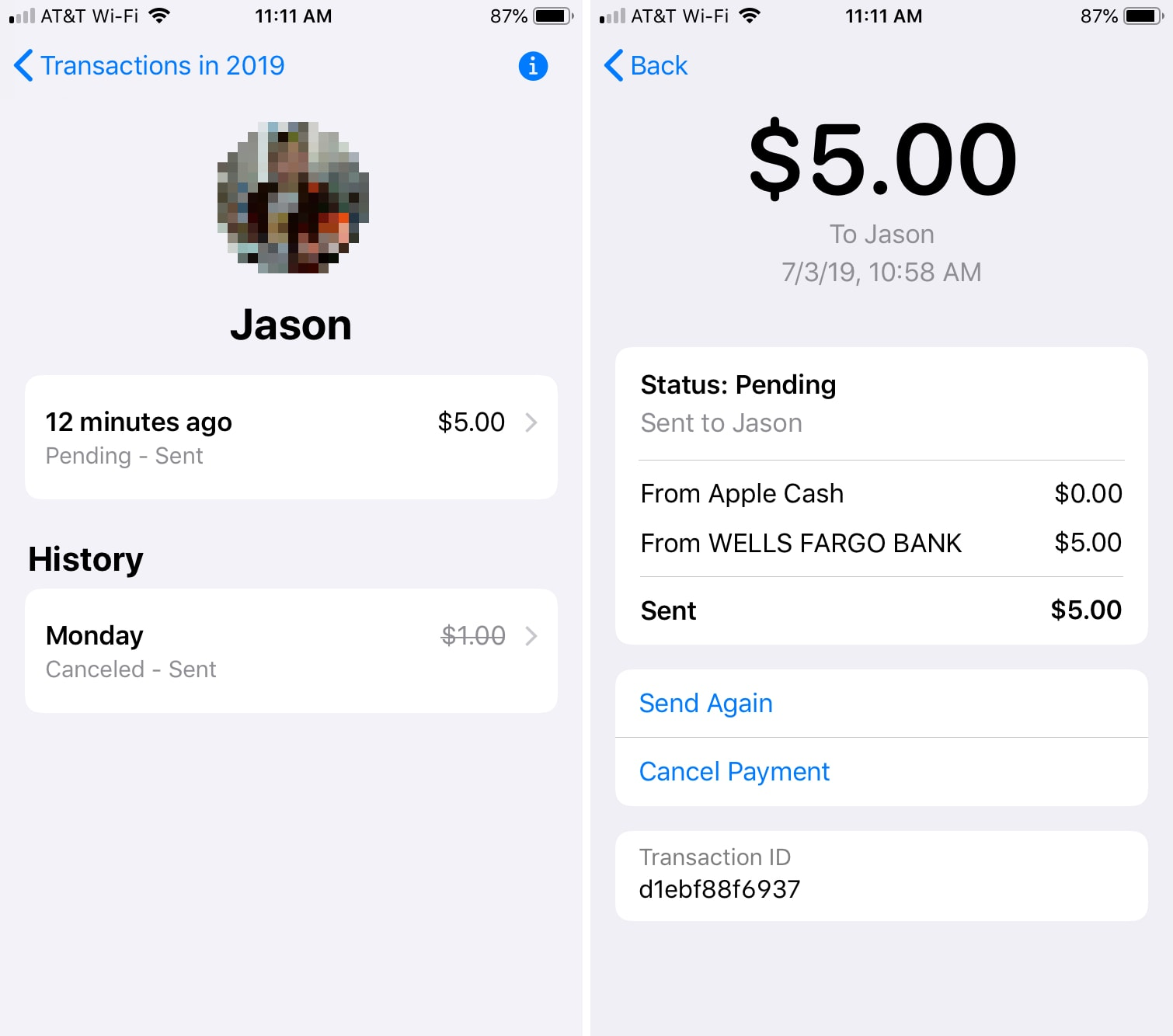 Apple Cash Transaction Details in Wallet iPhone