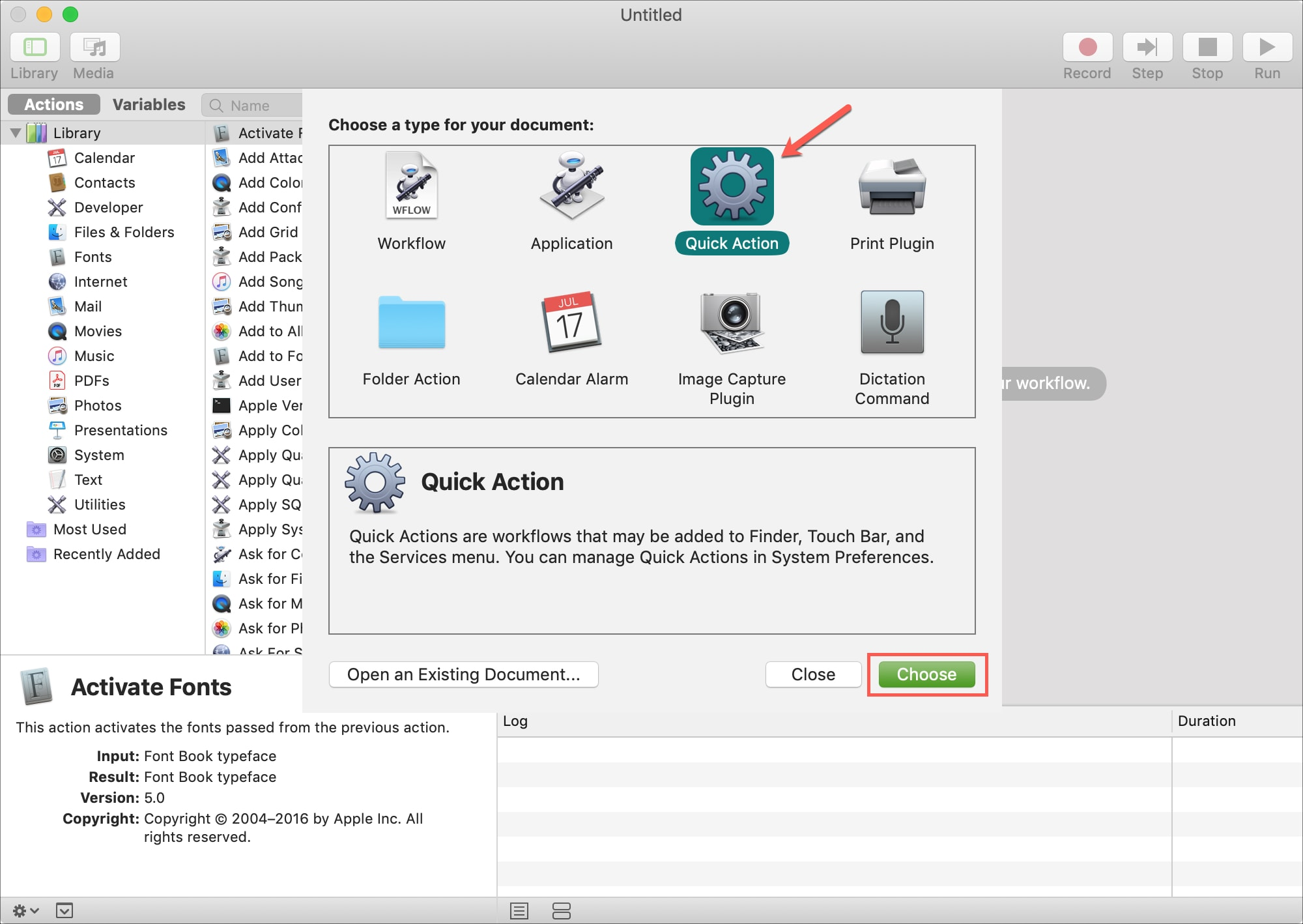 Automator Quick Action Choose