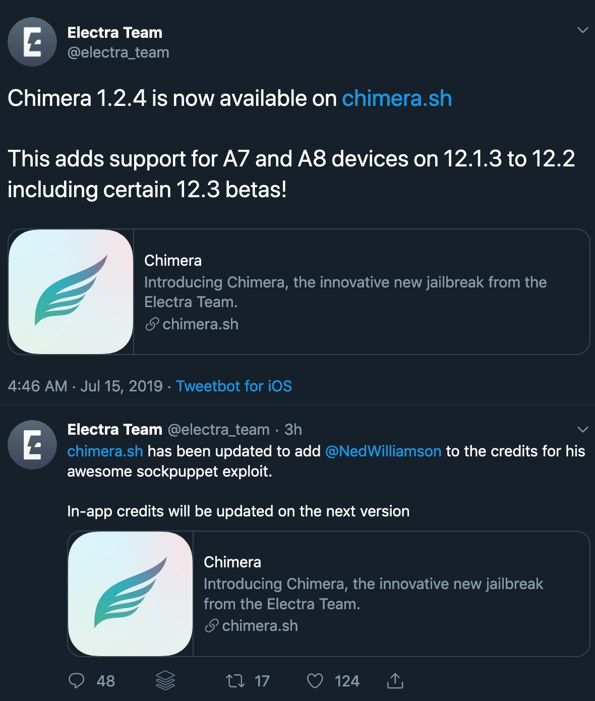 Chimera v1 2 4 brings support for A7-A8 devices running iOS