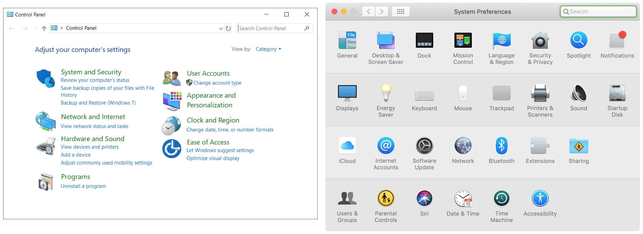 Control Panel vs System Preferences Windows Mac
