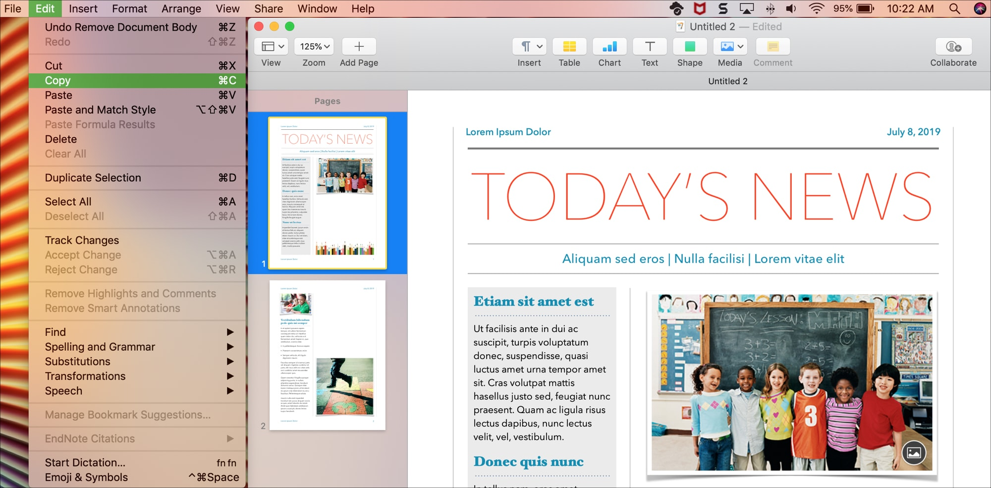 Copy Paste Sections Pages in Pages on mac