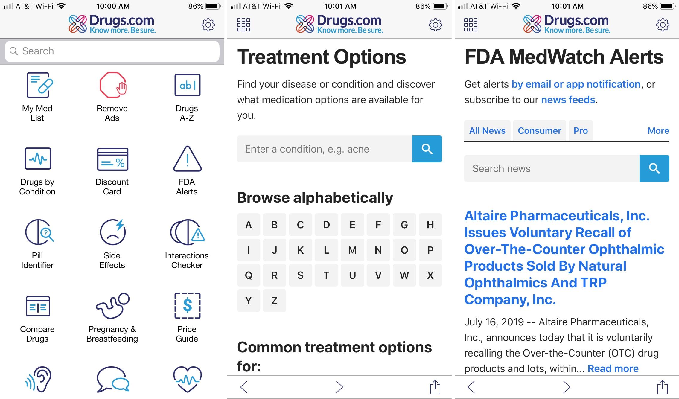Aplicación DrogasDotCom para iPhone