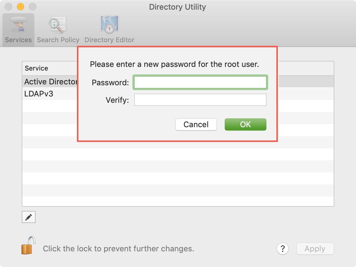 Enter Root User Password on Mac