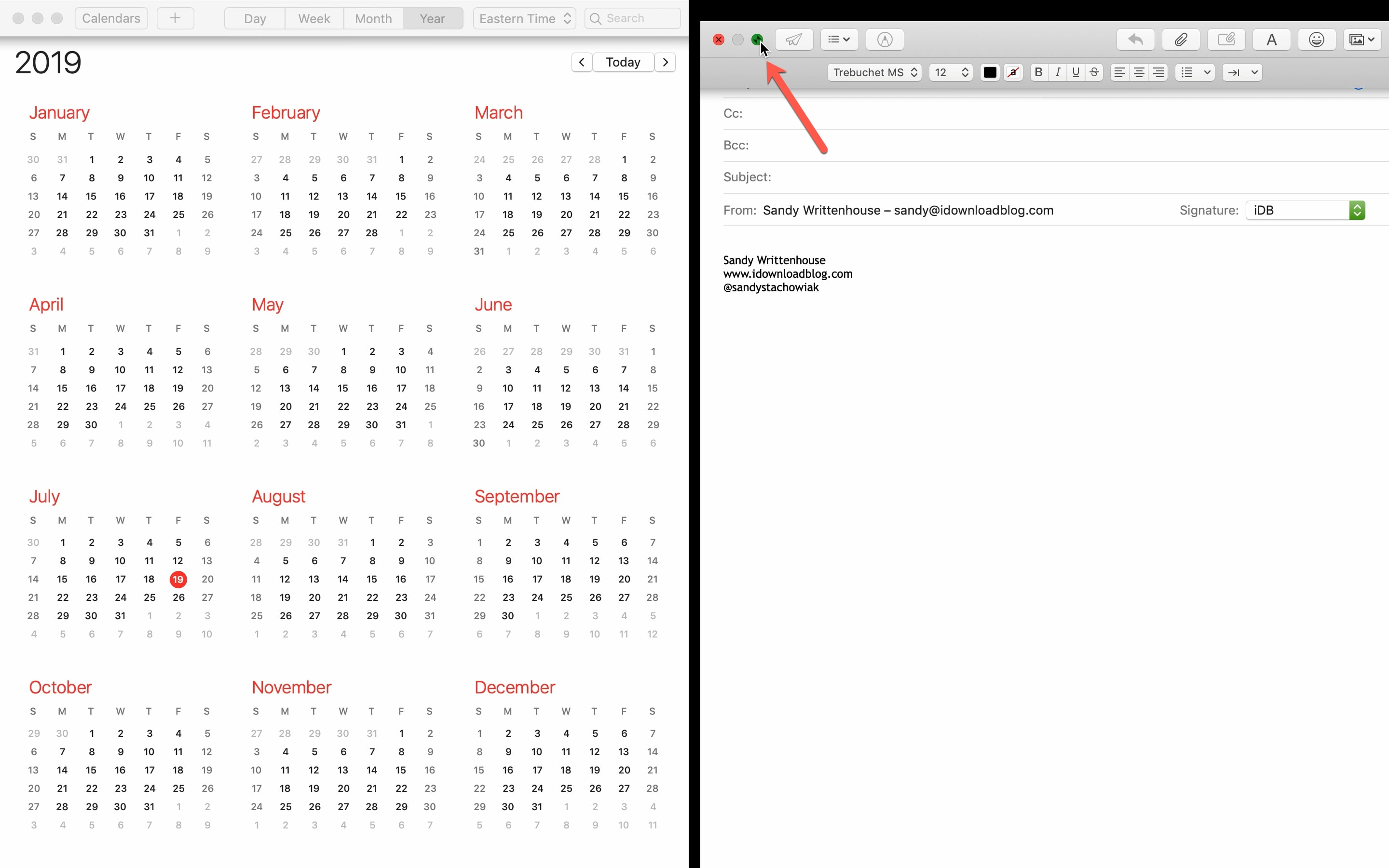 Exit Split Screen Mac Email Calendar