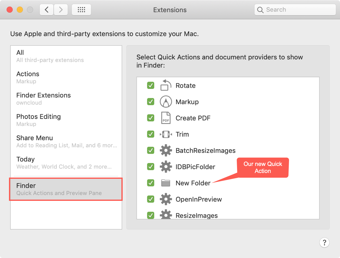 Finder Select Quick Actions Extensions Window Ours News