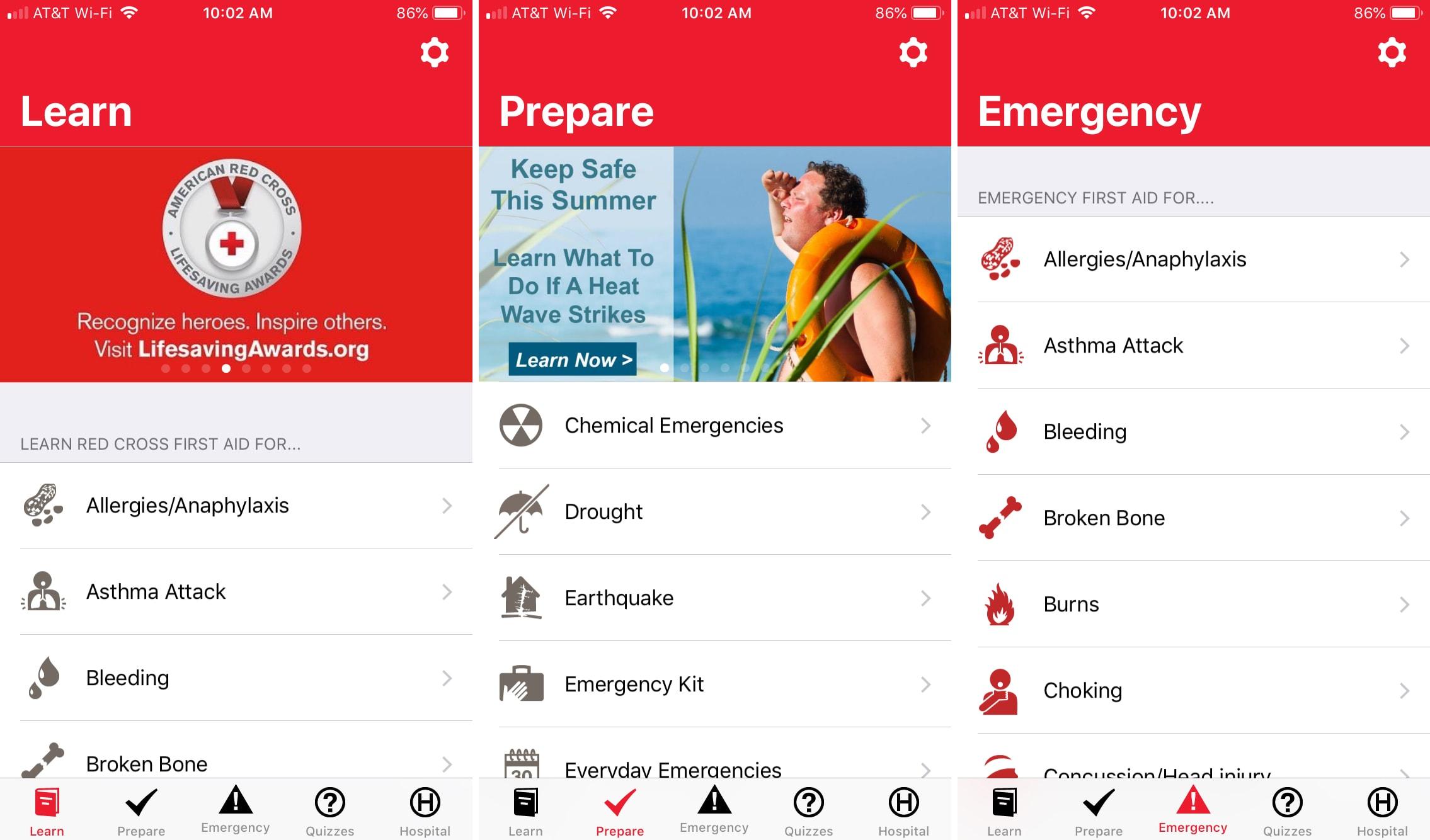 IPhone de primeros auxilios de la Cruz Roja Americana aplicación