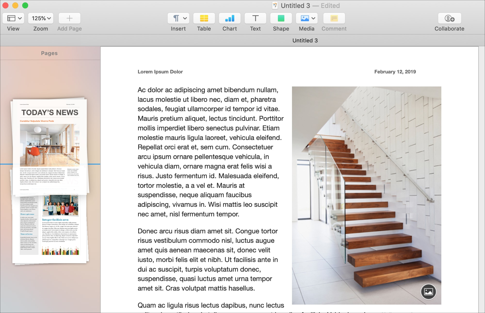 Rearrange Pages in Pages on mac